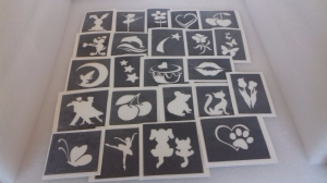 10 - 100 girls themed stencils for glitter tattoos / airbrush /   Ideal for Fund raising, PTA - School & charity